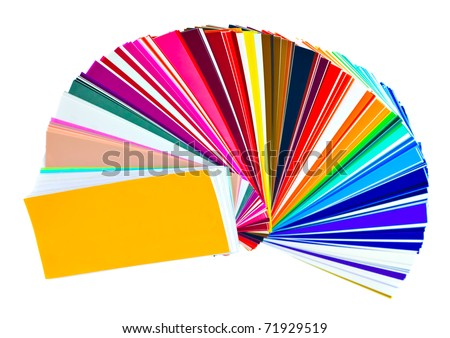 Color samples swatchbook isolated on white with clipping path - stock photo
