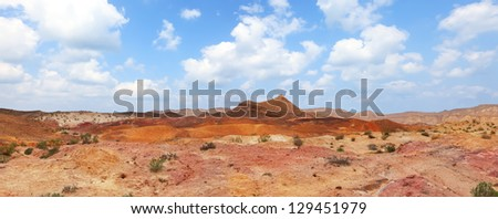 Color sand valley of Negev desert - nature reserve in the south of Israel - stock photo