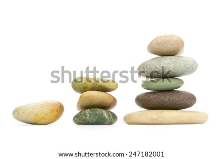 Color sea stones (the different form) on a white background. - stock photo