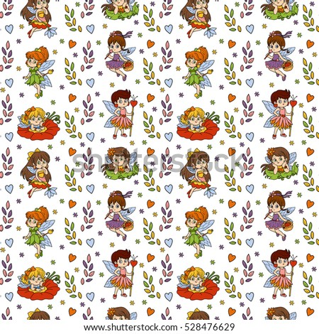 Color seamless pattern with little fairies on white background
