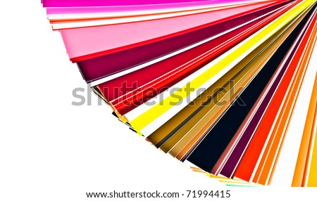 Color selection swatchbook in warm colors isolated on white - stock photo