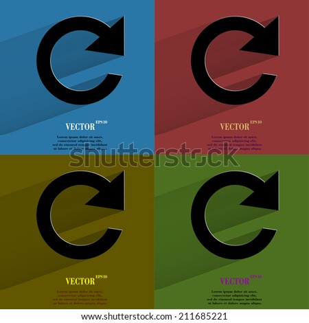 Color set arrow Update. Flat modern web button with long shadow and space for your text. . - stock photo