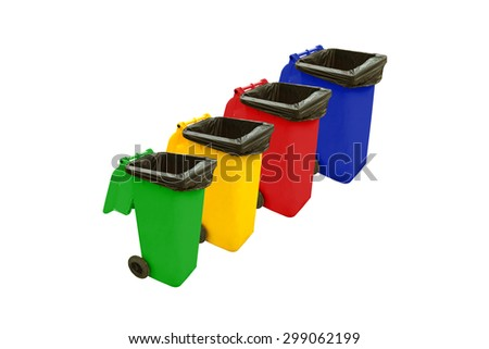Color set garbage plastic bins isolated on white background - stock photo