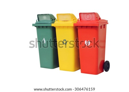 Color set garbage plastic bins isolated on white background.