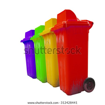 Color set garbage plastic bins isolated on white background. - stock photo