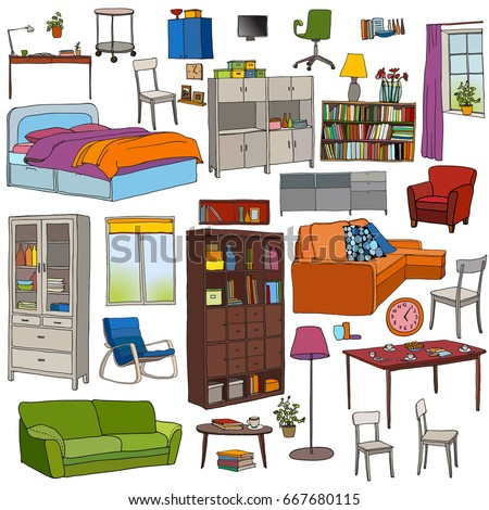 Dirty Clean Room Before After Cleaning Stock Vector ...