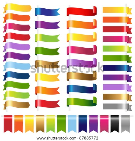 Color Set Web Ribbons, Isolated On White Background