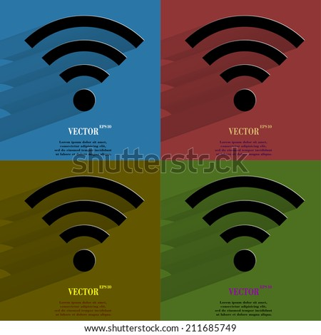 Color set WI-FI. Flat modern web button with long shadow and space for your text. . - stock photo