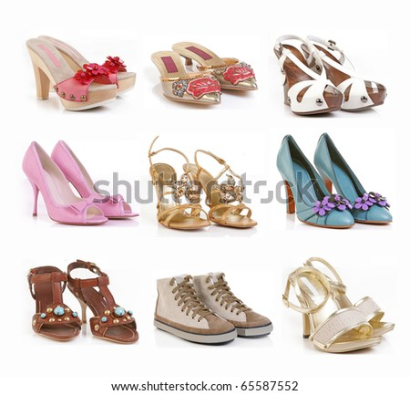 color shoes collection - stock photo