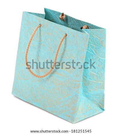 Color shopping bag, isolated on white - stock photo