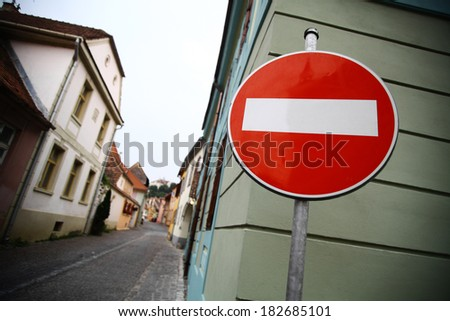 """Color shot of a """"Forbidden access"""" road sign - stock photo"""