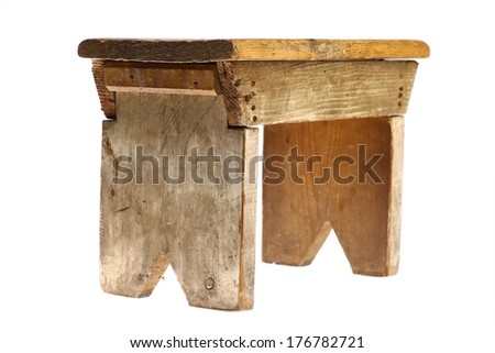 Color shot of a vintage stool isolated on white - stock photo
