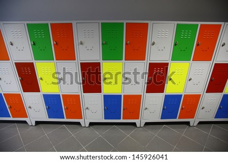 Color shot of some lockers in a high-school - stock photo