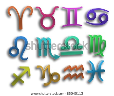 color signs of the zodiac isolated on white background 3d illustration. high resolution