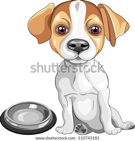 color sketch of the dog Jack Russell Terrier breed sits in front of an empty bowl, asks to eat