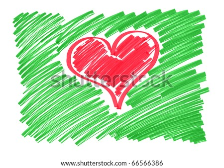 color sketch of the heart - stock photo