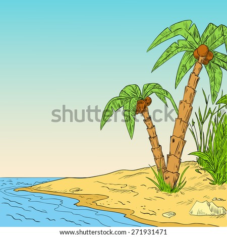 Color sketch of tropical palm on coast of ocean illustration - stock photo