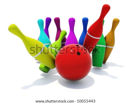 color skittles with ball isolated on white - stock photo
