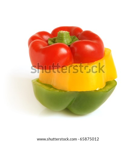 Color slices of bulgarian pepper on a white background