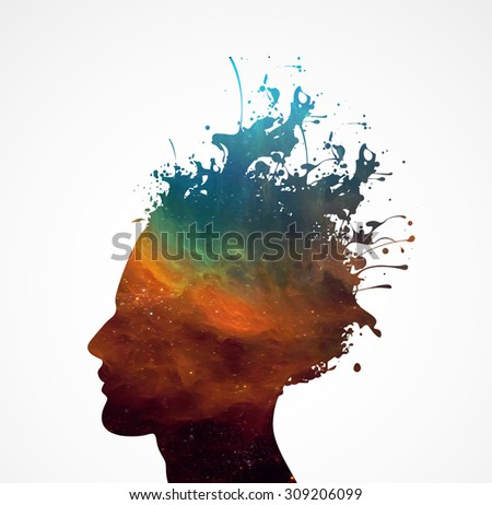 color smart human head explosion  - stock photo