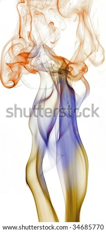 color smoke on a white background - stock photo