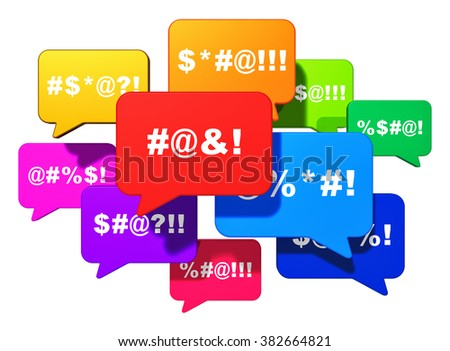 Color speech bubbles or balloons with censored swearing words isolated on white background - stock photo