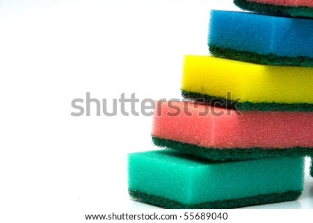 Color sponges for ware washing on white background