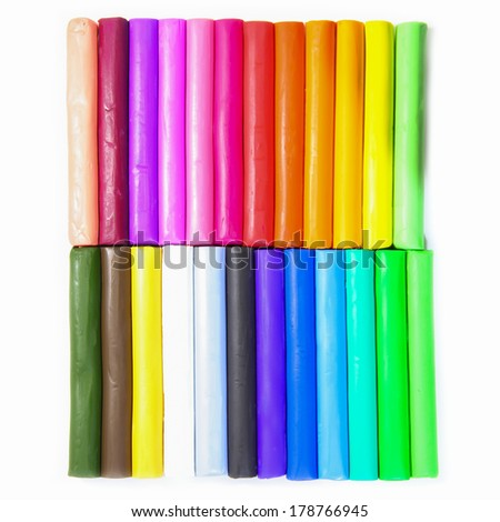 Color sticks of modeling clay isolated on white