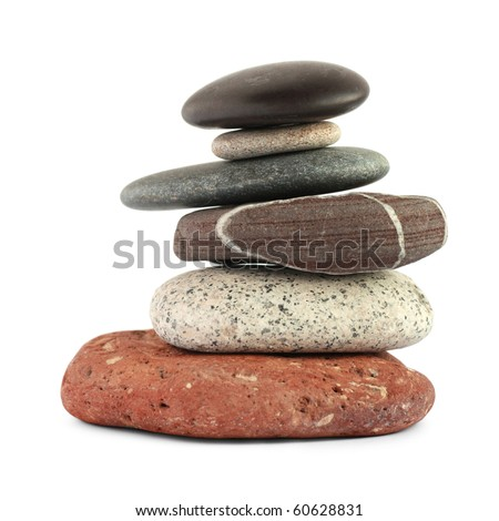 Color stones (zen) isolated on white background. Include clipping path. - stock photo