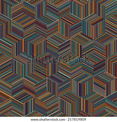color stripe cube pattern - stock photo