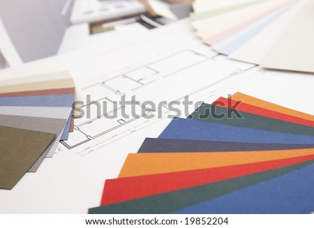 color swatch on a home decoration blueprint. - stock photo
