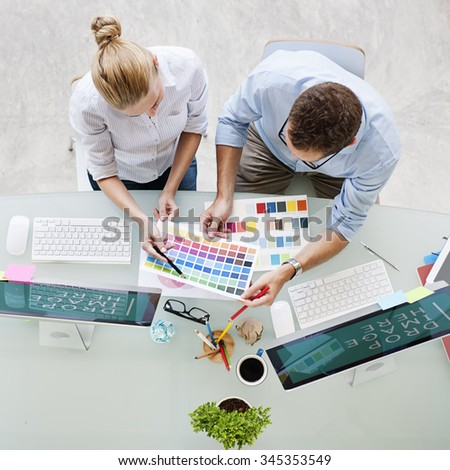 Color Swatch Selecting Couple Digital Device Design Concept - stock photo