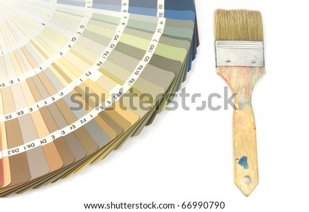 Color swatch with indoor colors and paintbrush - stock photo