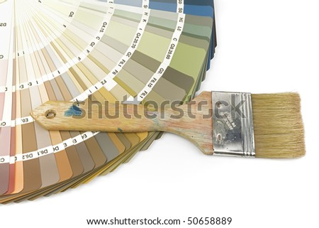 Color swatch with indoor colors and paintbrush, isolated on white background - stock photo