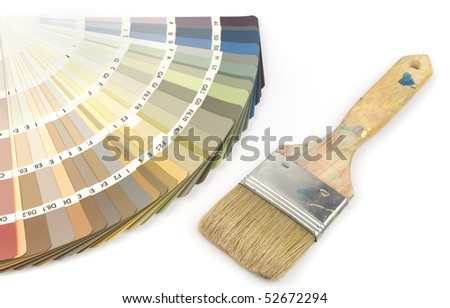 Color swatch with indoor colors and paintbrush, isolated on white background