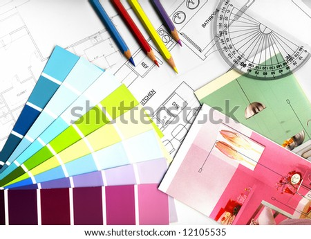 color swatches and plans - stock photo