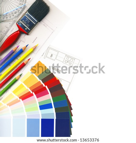 color swatches and plans isolated on white, with Clipping Path - stock photo