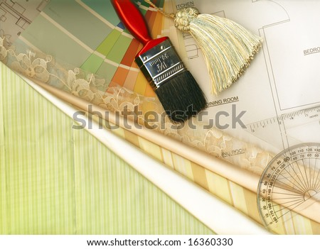 color swatches, textile swatches and plans - stock photo