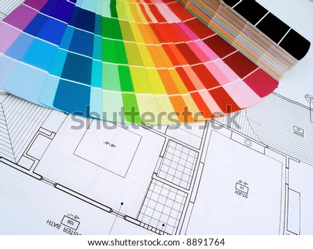 color swatshes and plans - stock photo