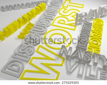 Color synonyms on a gray background. 3d illustration