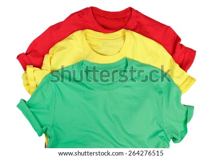 Color t-shirts isolated on white background