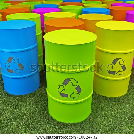color tank with recycle sign