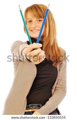 Color the world - 158 - A girl holds in hands of colored pencils - stock photo