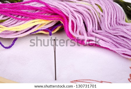 Color threads with needle isolated on white background cutout