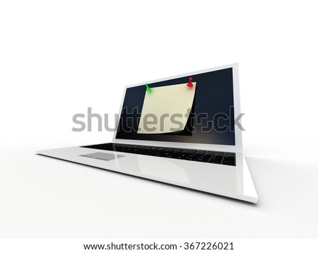 Color  thumbtack and laptop on white background, 3D - stock photo
