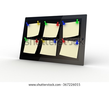Color  thumbtack and tablet computer on white background, 3D - stock photo