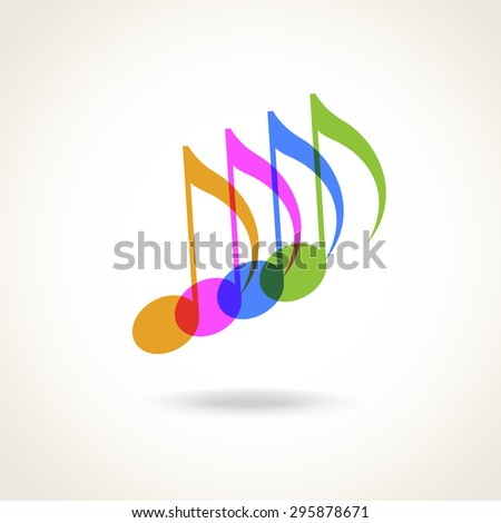 Color transparent notes. Sign for logo design template. Music icon with concept of creation and harmony. Musical abstract decorative sign for print, web - stock photo