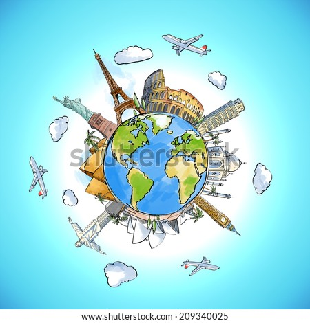 color travel background with earth and landmarks - stock photo