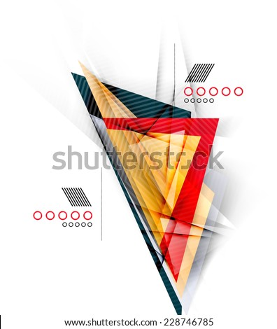Color triangles, unusual abstract background. Realistic paper 3d composition with shadows and glossy elements, origami concept layout - stock photo