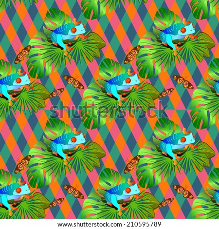 Color tropical flowers and leaves seamless background, bright vibrant kaleidoscope illustration - stock photo